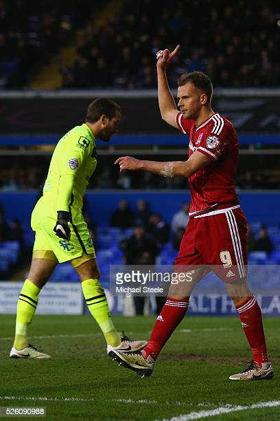 Jordan Rhodes of Middlesbrough celebrates scoring his sides opening goal during the Sky Bet Championship match between Birmingham City and...