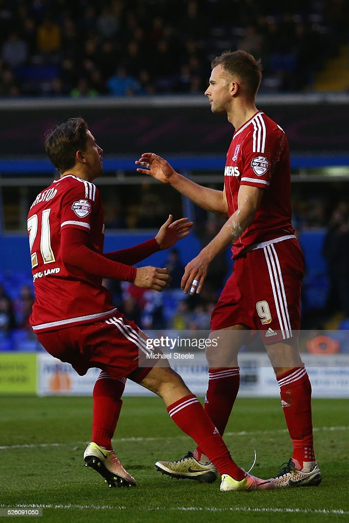 <a gi-track='captionPersonalityLinkClicked' href=/galleries/search?phrase=Jordan+Rhodes+-+Soccer+Player&family=editorial&specificpeople=12860183 ng-click='$event.stopPropagation()'>Jordan Rhodes</a> of Middlesbrough celebrates scoring his sides opening goal alongside Gaston Ramireez during the Sky Bet Championship match between Birmingham City and Middlesbrough at St Andrews on April 29, 2016 in Birmingham, United Kingdom.