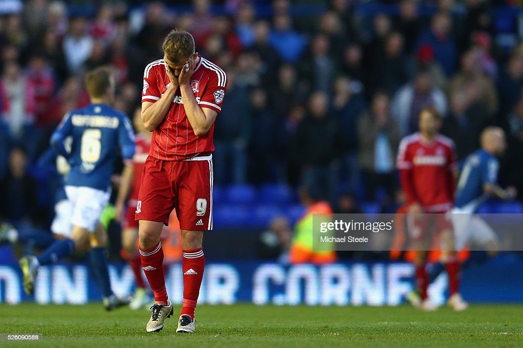 <a gi-track='captionPersonalityLinkClicked' href=/galleries/search?phrase=Jordan+Rhodes+-+Soccer+Player&family=editorial&specificpeople=12860183 ng-click='$event.stopPropagation()'>Jordan Rhodes</a> of Middlesbrough holds his head in his hands after his side concede the opening goal during the Sky Bet Championship match between Birmingham City and Middlesbrough at St Andrews on April 29, 2016 in Birmingham, United Kingdom.