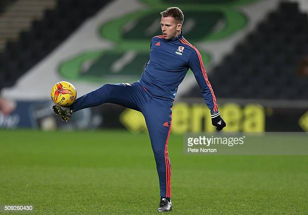 Jordan Rhodes of Middlesbrough in action during the pre match warm up prior to the Sky Bet Championship match between Milton Keynes Dons and...