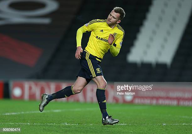 Jordan Rhodes of Middlesbrough in action during the Sky Bet Championship match between Milton Keynes Dons and Middlesbrough at StadiumMK on February...