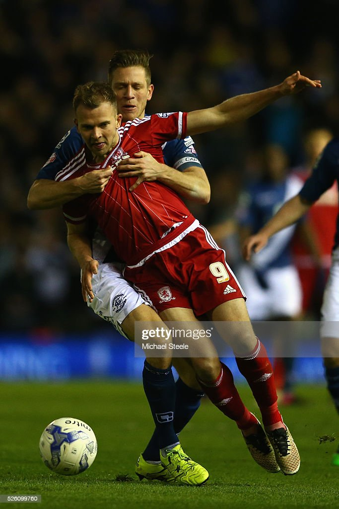<a gi-track='captionPersonalityLinkClicked' href=/galleries/search?phrase=Jordan+Rhodes+-+Soccer+Player&family=editorial&specificpeople=12860183 ng-click='$event.stopPropagation()'>Jordan Rhodes</a> of Middlesbrough is fouled by Michael Morrison of Birmingham City during the Sky Bet Championship match between Birmingham City and Middlesbrough at St Andrews on April 29, 2016 in Birmingham, United Kingdom.