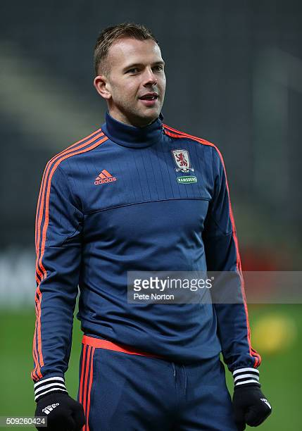 Jordan Rhodes of Middlesbrough looks on during the pre match warm up prior to the Sky Bet Championship match between Milton Keynes Dons and...