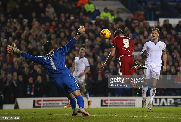 Jordan Rhodes of Middlesbrough misses a goalscoring chance during the Sky Bet Championship match between Leeds United and Middlesbrough at Elland...