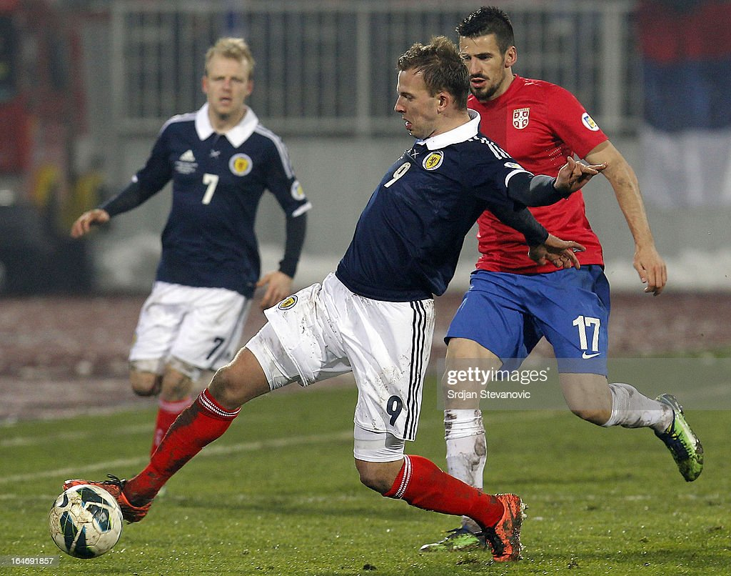 Jordan Rhodes (C) of Scotland in action during the FIFA 2014 World Cup Qualifier match between Serbia and Scotland at Karadjordje Stadium on March 26, 2013 in Novi Sad, Serbia