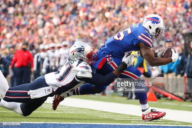 Jordan Richards of the New England Patriots attempts to tackle LeSean McCoy of the Buffalo Bills during the fourth quarter on December 3 2017 at New...