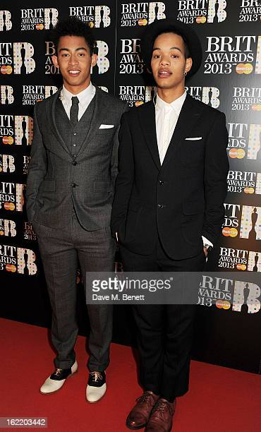 Jordan 'Rizzle' Stephens and Harley 'Sylvester' AlexanderSule arrive at the BRIT Awards 2013 at the O2 Arena on February 20 2013 in London England
