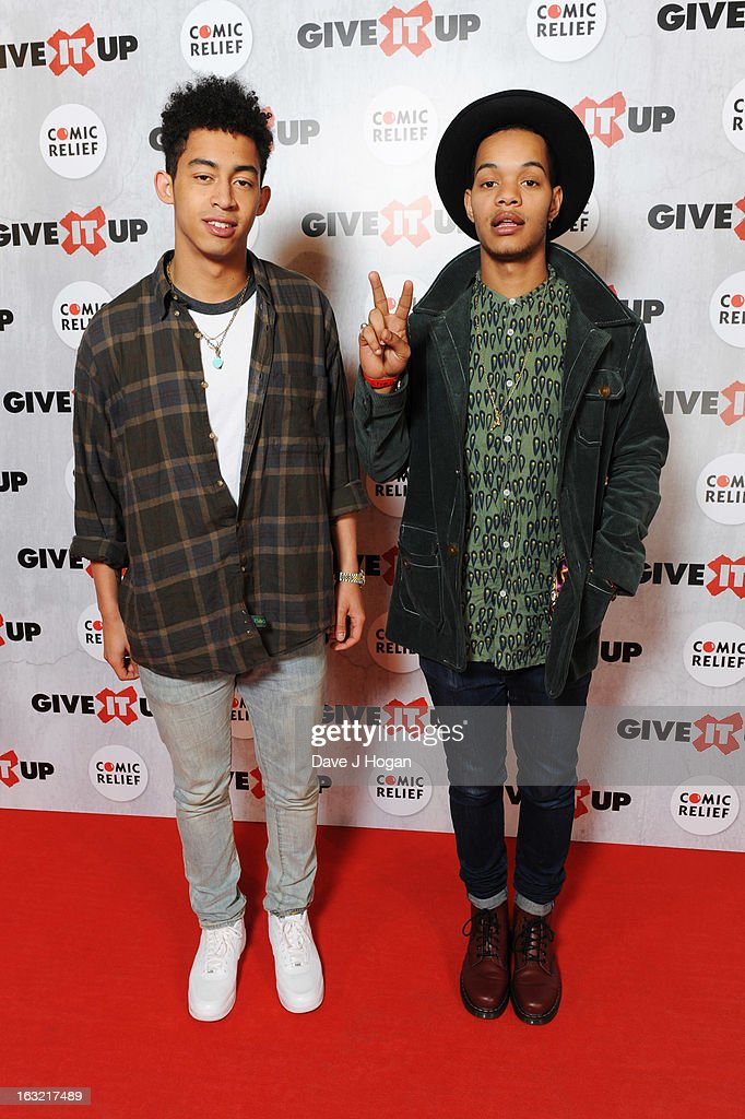 Jordan 'Rizzle' Stephens and Harley 'Sylvester' Alexander-Sule of Rizzle Kicks attend 'Give It Up For Comic Relief' at Wembley Arena on March 6, 2013 in London, England.