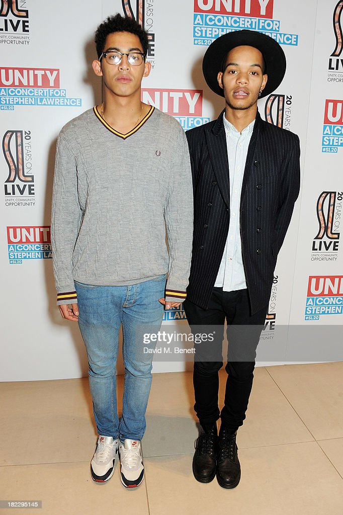 Jordan 'Rizzle' Stephens (L) and Harley 'Sylvester' Alexander-Sule of Rizzle Kicks attend 'Unity: A Concert For Stephen Lawrence' in aid of The Stephen Lawrence Charitable Trust at the O2 Arena on September 29, 2013 in London, England.