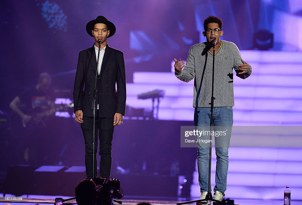 Jordan 'Rizzle' Stephens and Harley 'Sylvester' Alexander-Sule of Rizzle Kicks performs at 'Unity: A Concert For Stephen Lawrence' in aid of The Stephen Lawrence Charitable Trust at the O2 Arena on September 29, 2013 in London, England.