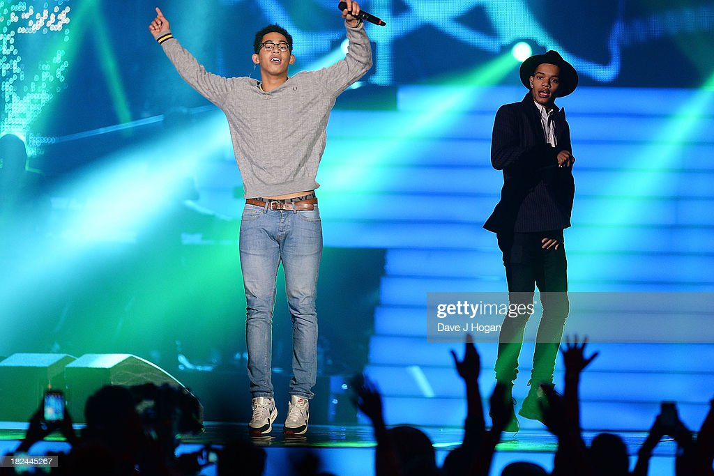 Jordan 'Rizzle' Stephens (R) and Harley 'Sylvester' Alexander-Sule of Rizzle Kicks performs at 'Unity: A Concert For Stephen Lawrence' in aid of The Stephen Lawrence Charitable Trust at the O2 Arena on September 29, 2013 in London, England.