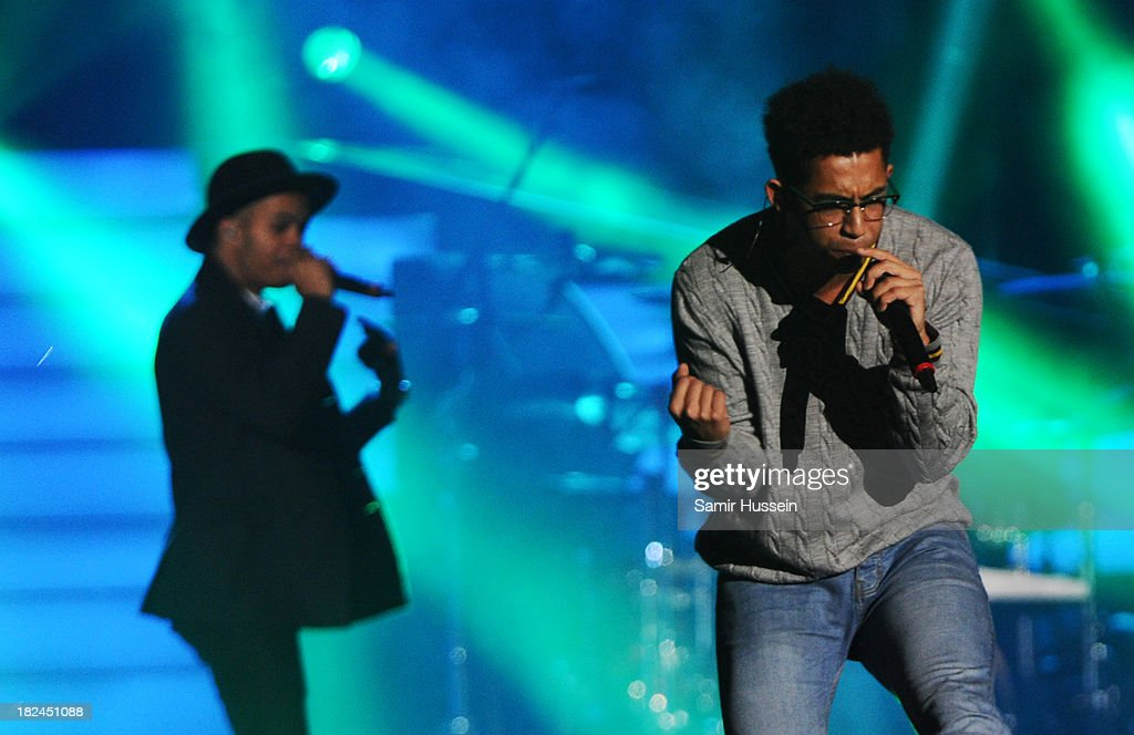 Jordan 'Rizzle' Stephens and Harley 'Sylvester' Alexander-Sule of Rizzle Kicks perform live on stage at the Unity concert in memory of Stephen Lawrence at O2 Arena on September 29, 2013 in London, England.