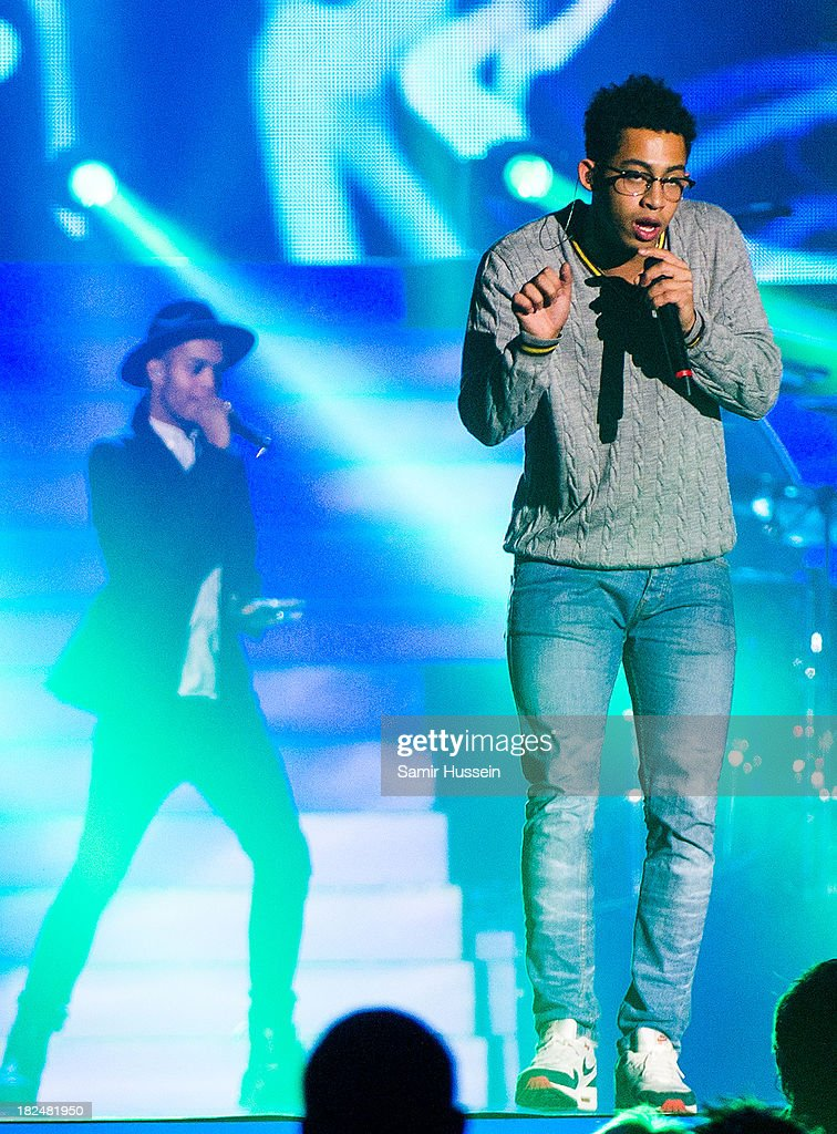 Jordan 'Rizzle' Stephens and Harley 'Sylvester' Alexander-Sule of Rizzle Kicks appears live on stage at the Unity concert in memory of Stephen Lawrence at O2 Arena on September 29, 2013 in London, England.