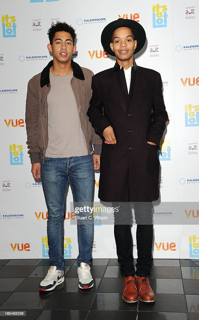 Jordan 'Rizzle' Stephens (L) and Harley 'Sylvester' Alexander-Sule of Rizzle Kicks attend the West End Premiere of 'It's A Lot' at Vue West End on October 21, 2013 in London, England.