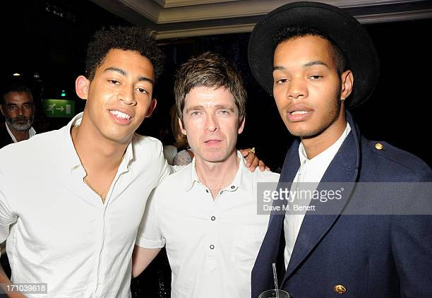 REQUIRED Jordan 'Rizzle' Stephens Noel Gallagher and Harley 'Sylvester' AlexanderSule attend the Hoping Foundation's 'Rock On' benefit evening for...
