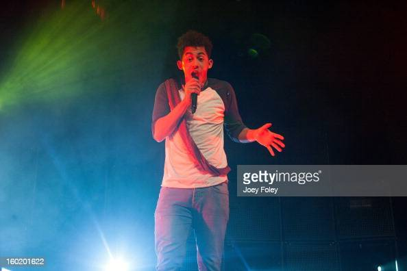 Jordan 'Rizzle' Stephens of British hiphop duo Rizzle Kicks performs in concert at the Murat Egyptian Room on January 26 2013 in Indianapolis Indiana