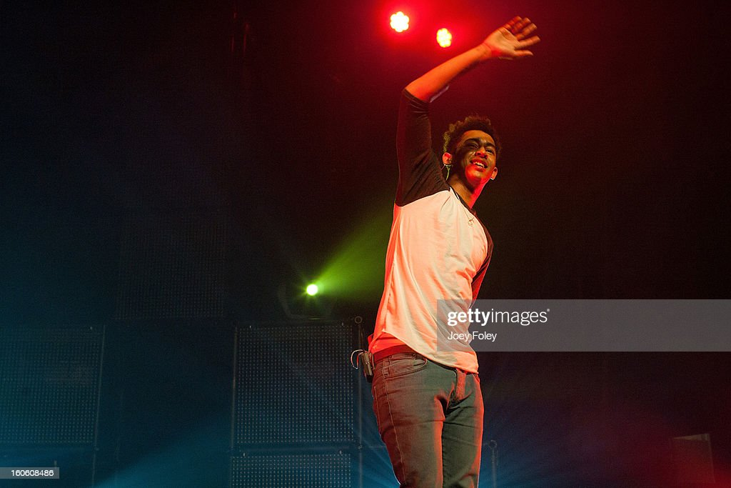 Jordan 'Rizzle' Stephens of British hip-hop duo Rizzle Kicks performs in concert at the Murat Egyptian Room on January 26, 2013 in Indianapolis, Indiana.
