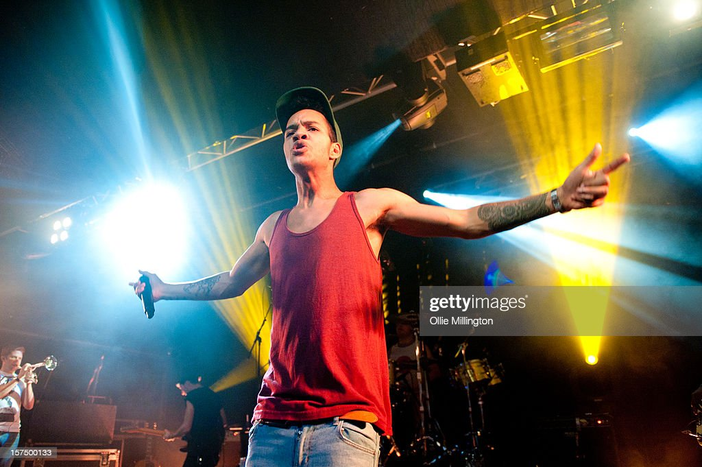 Jordan 'Rizzle' Stephens of Rizzle Kicks performs onstage during their December 2012 UK tour at Rock City on December 3, 2012 in Nottingham, England.