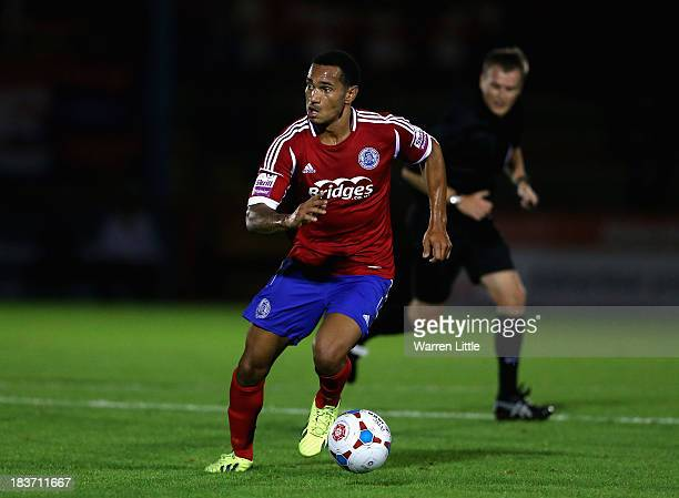 Jordan Roberts of Aldershot in action during the Skrill Conference Premier match between Aldershot Town and Luton Town at Electrical Servies Stadium...