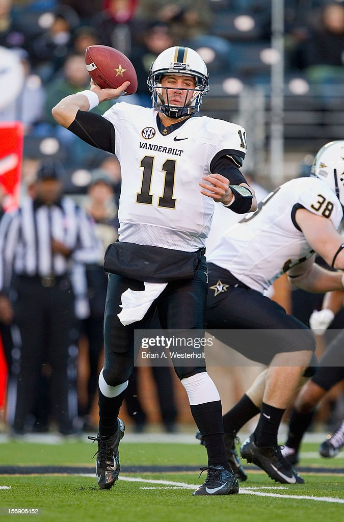 Jordan Rodgers #11 of the Vanderbilt Commodores passes the ball against the Wake Forest Demon Deacons at BB&T Field on November 24, 2012 in Winston Salem, North Carolina.