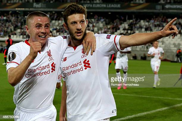 Jordan Rossiter and Adam Lallana after his goal for Liverpool FC during the Europa League game between FC Girondins de Bordeaux and Liverpool FC at...