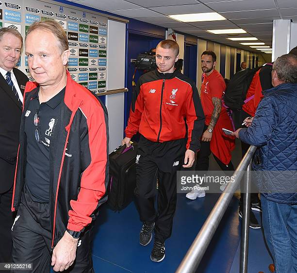 Jordan Rossiter of Liverpool arrives before the Barclays Premier League match between Everton and Liverpool on October 04 2015 in Liverpool United...