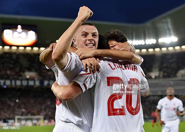 Jordan Rossiter of Liverpool celebrates after Adam Lallana scores the opening goal during the UEFA Europa League match between FC Girondins de...