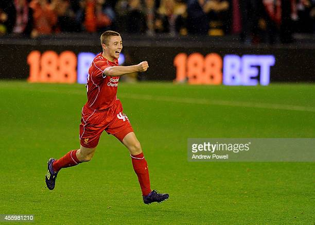 Jordan Rossiter of Liverpool celebrates his goal during the Capital One Cup Third Round match between Liverpool and Middlesbrough at Anfield on...