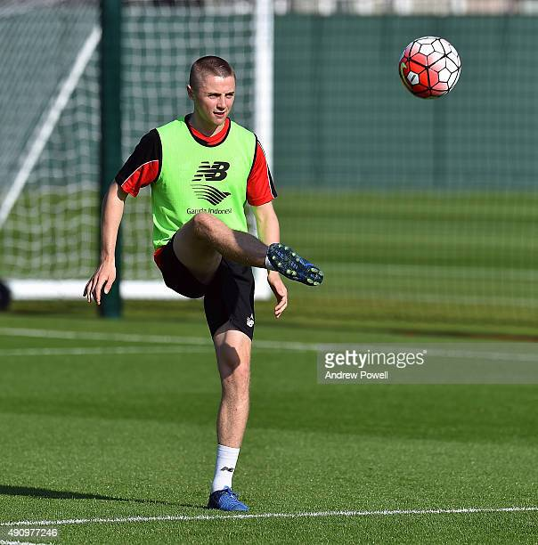 Jordan Rossiter of Liverpool during a training session at Melwood Training Ground on October 2 2015 in Liverpool England