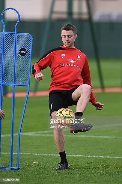 Jordan Rossiter of Liverpool during a training session at Melwood Training Ground on November 27 2015 in Liverpool England