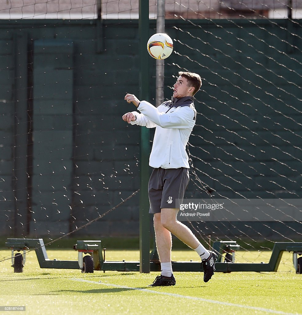 Jordan Rossiter of Liverpool during the training session at Melwood Training ground on May 04, 2016 in Liverpool, England.