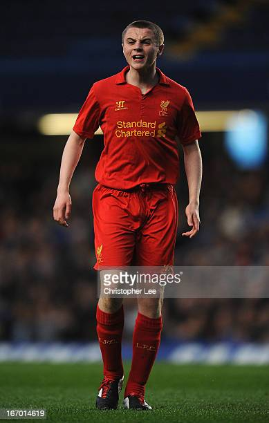 Jordan Rossiter of Liverpool in action during the FA Youth Cup semi final second leg match between Chelsea and Liverpool at Stamford Bridge on April...