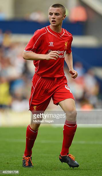 Jordan Rossiter of Liverpool in action during the pre season friendly match between Preston North End and Liverpool at Deepdale on July 19 2014 in...