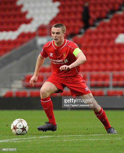 Jordan Rossiter of Liverpool in action during the UEFA Youth League fixture between Liverpool and FC Basel at Langtree Park on December 9 2014 in St...