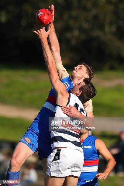 Jordan Roughead of Footscray and Ryan Abbott of Geelong compete in the air during the round six VFL match between the Footscray Bulldogs and the...