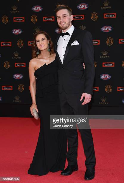 Jordan Roughead of the Bulldogs and his partner Bridget Davies arrives ahead of the 2017 Brownlow Medal at Crown Entertainment Complex on September...