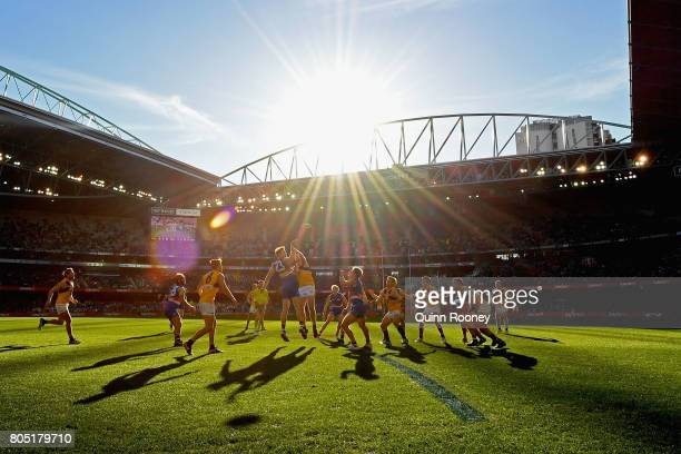 Jordan Roughead of the Bulldogs and Jeremy McGovern of the Eagles compete in the ruck during the round 15 AFL match between the Western Bulldogs and...