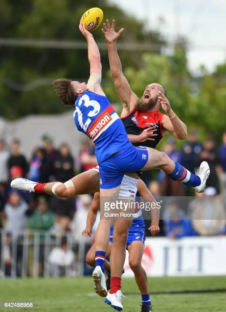 Jordan Roughead of the Bulldogs and Max Gawn of the Demons compete in the ruck during the 2017 JLT Community Series match between the Western...
