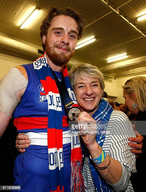 Jordan Roughead of the Bulldogs poses for a photo with his mum during the 2016 Toyota AFL Grand Final match between the Sydney Swans and the Western...