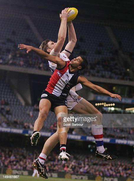Jordan Roughead of the Bulldogs takes a mark during the round 18 AFL match between the St Kilda Saints and the Western Bulldogs at Etihad Stadium on...