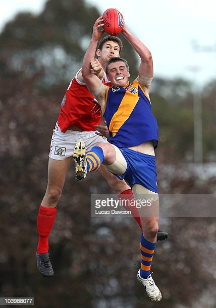 Jordan Roughead of Williamstown marks the ball during the VFL Preliminary Final match between Williamstown and Northern Bullants at Teac Oval on...