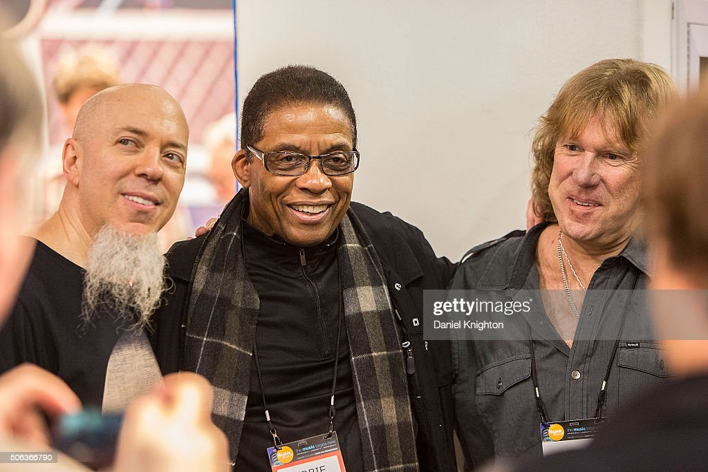 Jordan Rudess of Dream Theater Herbie Hancock and Keith Emerson of Emerson Lake Palmer pose for fan photos at NAMM Show Day 2 at Anaheim Convention...