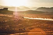Jordan, Sand dust from a 4-wheeler in Wadi Rum desert