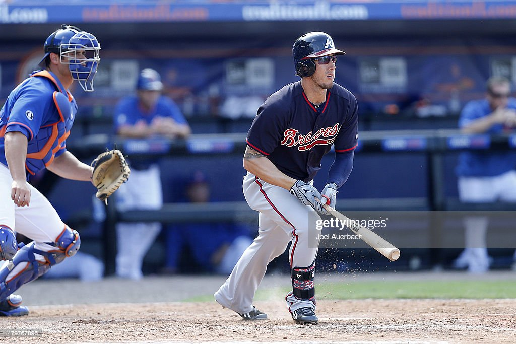 <a gi-track='captionPersonalityLinkClicked' href=/galleries/search?phrase=Jordan+Schafer&family=editorial&specificpeople=4958028 ng-click='$event.stopPropagation()'>Jordan Schafer</a> #17 of the Atlanta Braves hits the ball against the New York Mets in the ninth inning during a spring training game at Tradition Field on March 20, 2014 in Port St. Lucie, Florida. The Mets defeated the Braves 7-6.