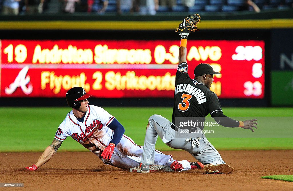 <a gi-track='captionPersonalityLinkClicked' href=/galleries/search?phrase=Jordan+Schafer&family=editorial&specificpeople=4958028 ng-click='$event.stopPropagation()'>Jordan Schafer</a> #17 of the Atlanta Braves is tagged out on a ninth inning steal attempt by <a gi-track='captionPersonalityLinkClicked' href=/galleries/search?phrase=Adeiny+Hechavarria&family=editorial&specificpeople=6926508 ng-click='$event.stopPropagation()'>Adeiny Hechavarria</a> #3 of the Miami Marlins at Turner Field on July 22, 2014 in Atlanta, Georgia.