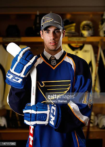 Jordan Schmaltz 25th overall pick by the St Louis Blues poses for a portrait during the 2012 NHL Entry Draft at Consol Energy Center on June 22 2012...