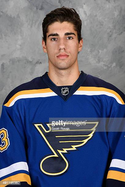 Jordan Schmaltz of the St Louis Blues poses for his official headshot for the 20152016 season on September 17 2015 in St Louis Missouri