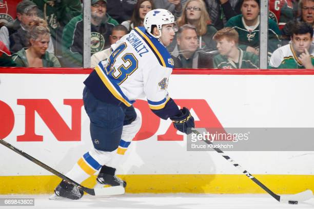 Jordan Schmaltz of the St Louis Blues skates with the puck against the Minnesota Wild in Game One of the Western Conference First Round during the...