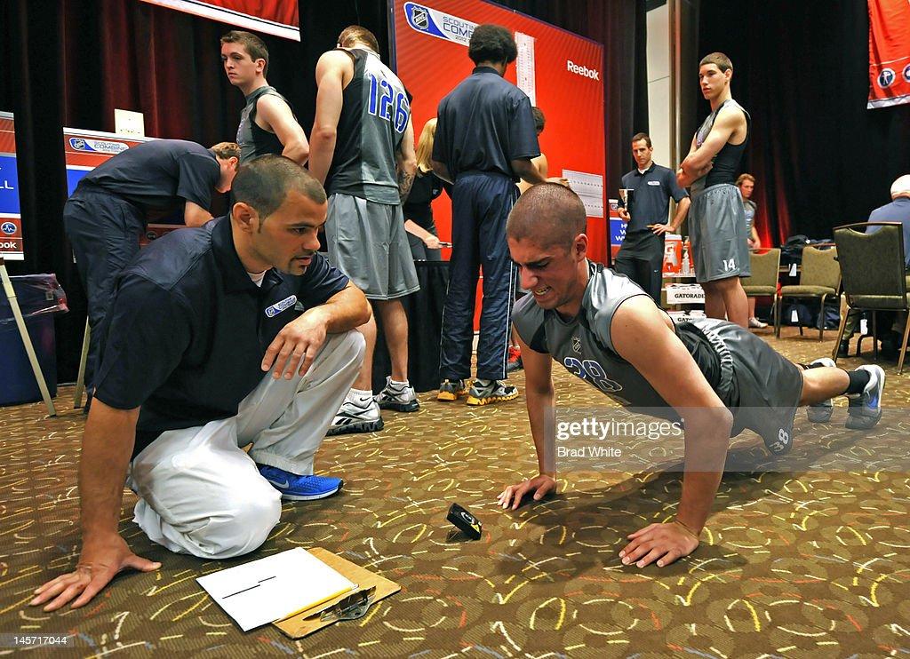 Jordan Schmaltz #38 takes part in the 2012 NHL Combine June 1, 2012 at International Centre in Toronto, Ontario, Canada.