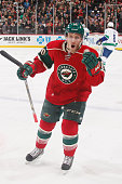 Jordan Schroeder of the Minnesota Wild celebrates after scoring a goal during the game against the Vancouver Canucks on February 9 2015 at the Xcel...